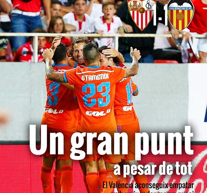 Portada: Sevilla 1-1 València