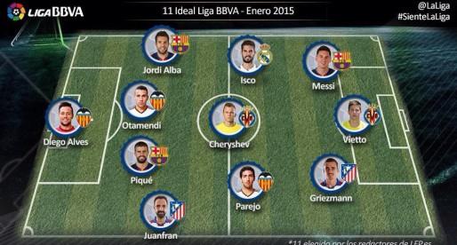 Alves, Otamendi i Parejo, en l'onze del mes de la Lliga
