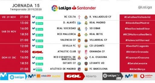 La Lliga confirma l'horari de la jornada 15