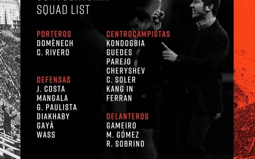 Gayà dins, Rodrigo y Coquelin fora contra l'Atlético.